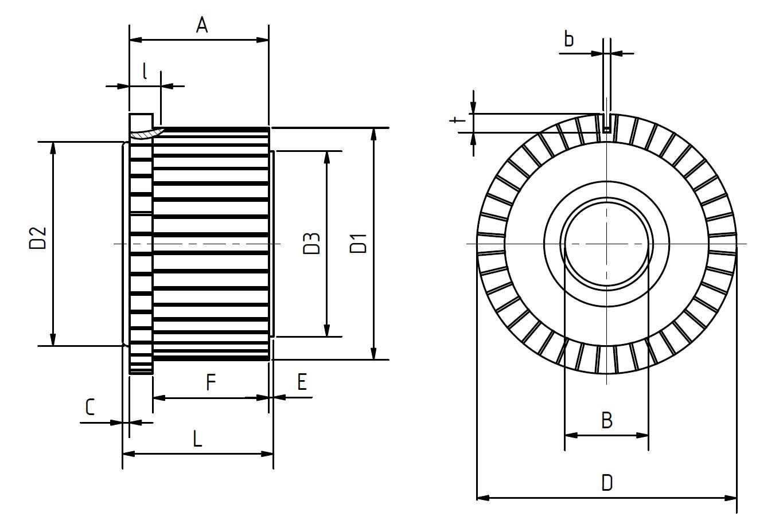 Technische Zeichnung Kommutator