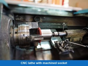 CNC lathe with machined socket