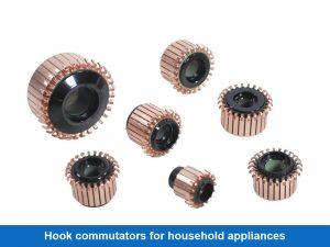 Hook commutators for household appliances